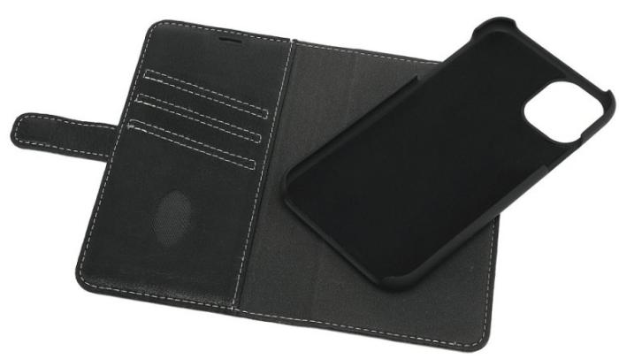 Image of   Essentials 2-i-1 Leather Wallet i ægte læder til Apple iPhone 11 - Sort