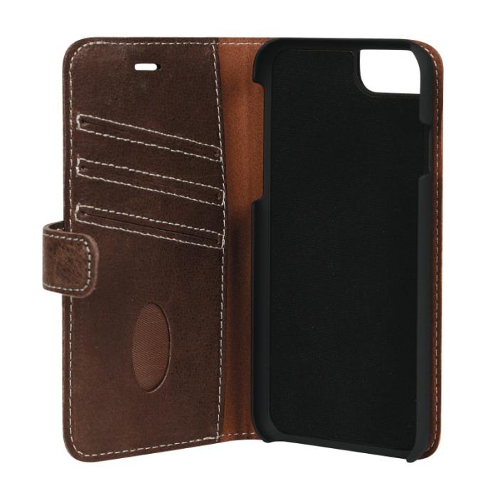 Image of   Essentials 2-i-1 Leather Wallet i ægte læder til Apple iPhone 6/6S/7/8 - Brun