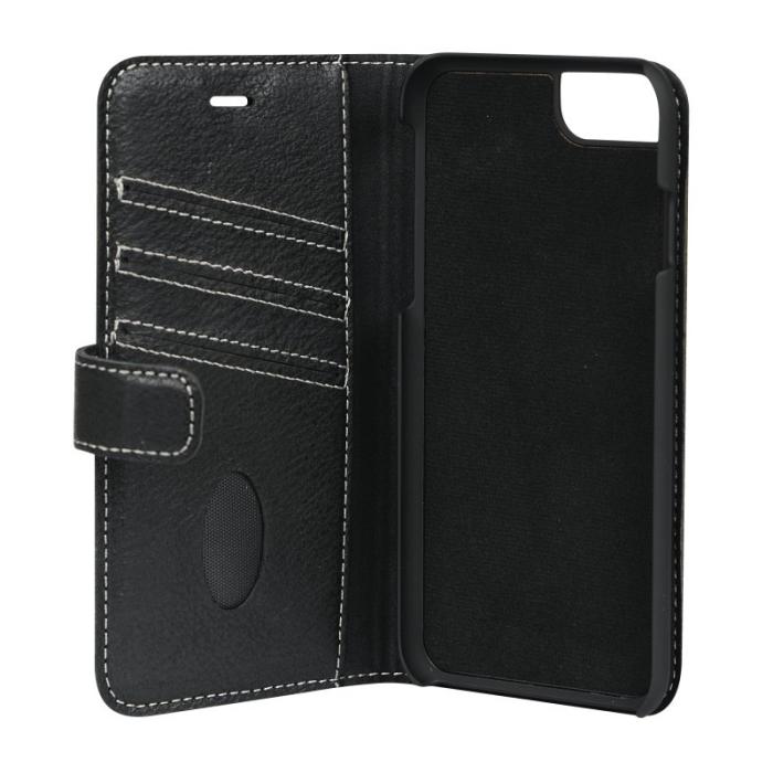 Image of   Essentials 2-i-1 Leather Wallet i ægte læder til Apple iPhone 6/6S/7/8 - Sort