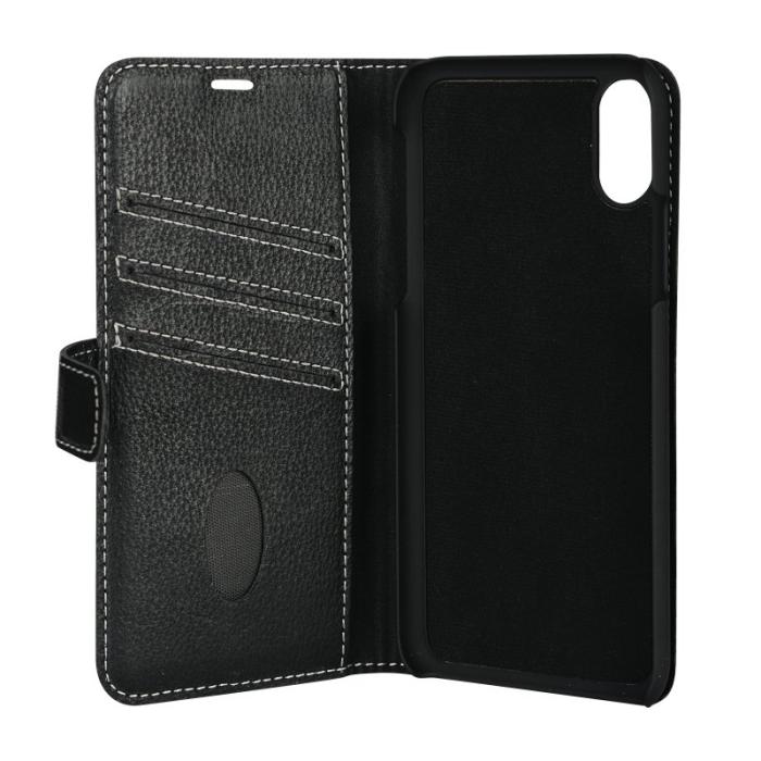 Image of   Essentials 2-i-1 Leather Wallet i ægte læder til Apple iPhone X/XS - Sort
