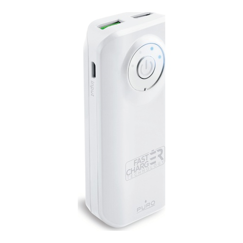 Image of   Fast Charge Powerbank 5200mAh 1USB 24A hvid