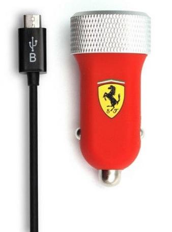 Image of   Ferrari Billader med 2 USB porte 2.1A til telefoner & tablets Rød