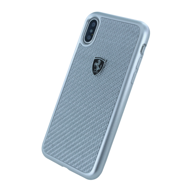 Image of   Ferrari - Heritage - Carbon Hard Cover - Apple iPhone X - Silver