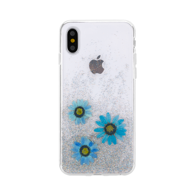 Image of   FLAVR iPlate Real Flower Julia for iPhone X/Xs blue