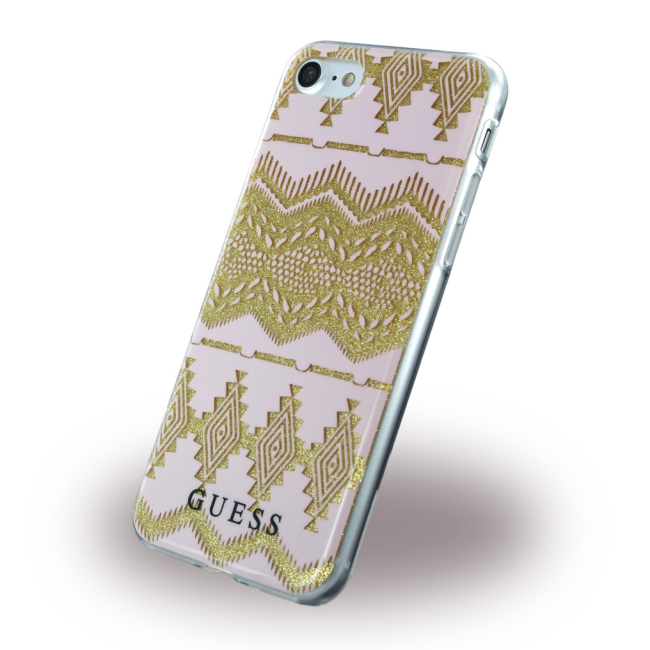 Image of   Guess - 3D Effect Aztec Tribal GUHCP7TGPI - Silicone Cover / Phone Skin - Apple iPhone 7 8 - Light Pink