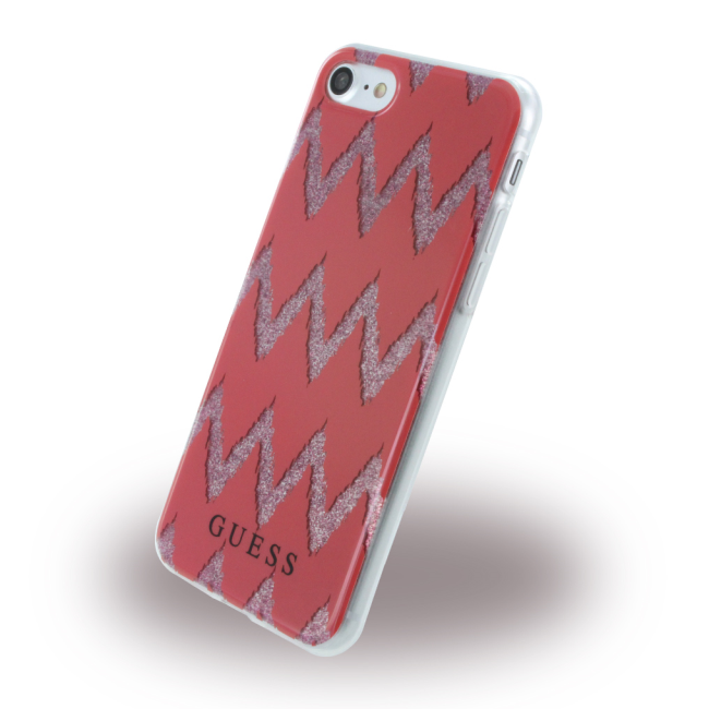 Image of   Guess - 3D Effect Stripes Chevron GUHCP7CGRE - Silicone Cover - Apple iPhone 7 8 - Red