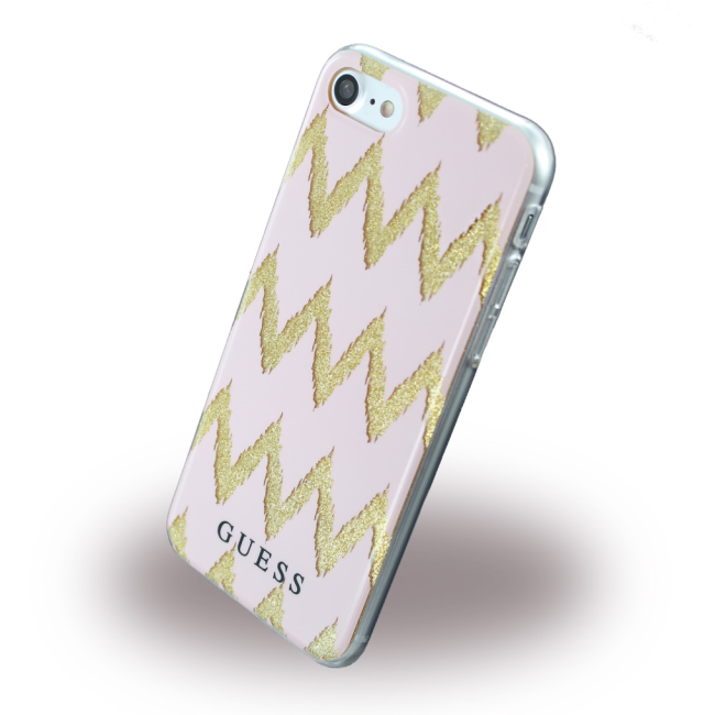 Image of   Guess - 3D Effect Stripes Chevron - Silicone Cover / Phone Skin - Apple iPhone 7 8 - Pink