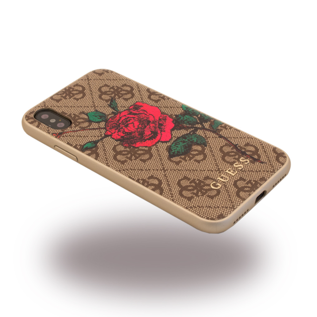 Image of   Guess Hardcase Blomster cover iPhone X Brun