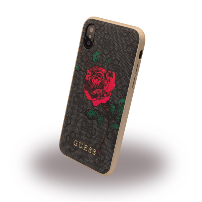 Image of   Guess Hardcase Blomster cover iPhone X Grå
