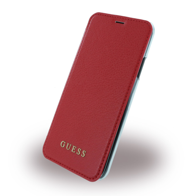 Image of   Guess - IriDescent - Book Case - Apple iPhone X - Red