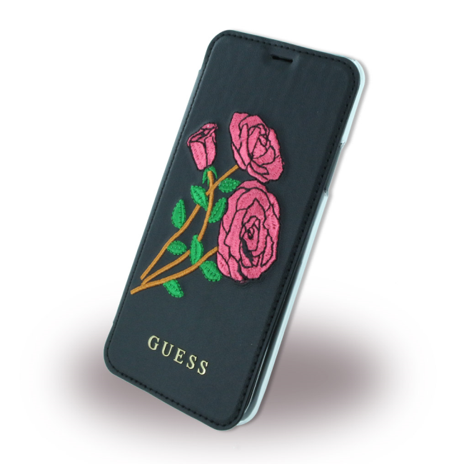 Image of   Guess Kunstlæder Wallet cover med blomster iPhone X Sort