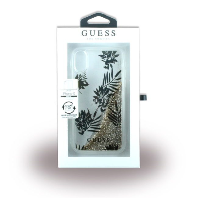Image of   Guess - Liquid Glitter Palm Spring - Hard Cover - Apple iPhone X - Gold