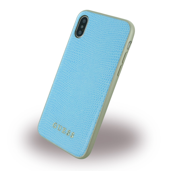 Image of   Guess - Python - Leatherette Hard Case - Apple iPhone X - Blue