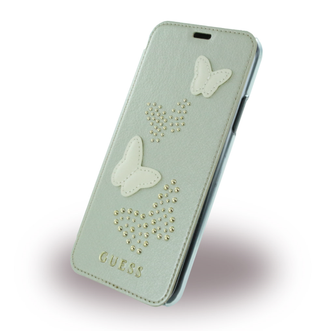 Image of   Guess Sommerfugle Kunstlæder Wallet cover iPhone X Sølv/Transparent