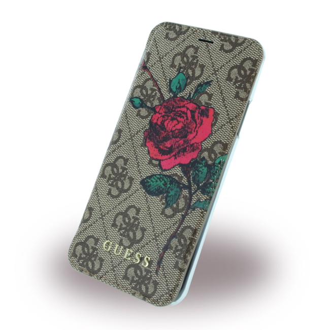 Image of   Guess Wallet Blomster cover iPhone X Brun