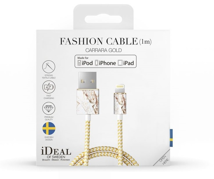 Image of   iDeal Fashion Lightning Kabel til iPhone/iPad 1M Carrara Guld