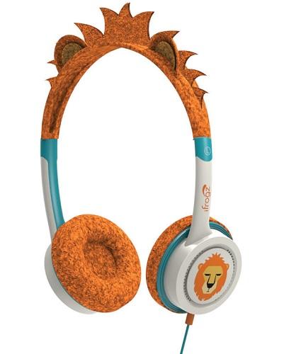 Billede af iFrogz Little Rockers hovedtelefoner med lav lyd til børn fra 4 år Orange Løve
