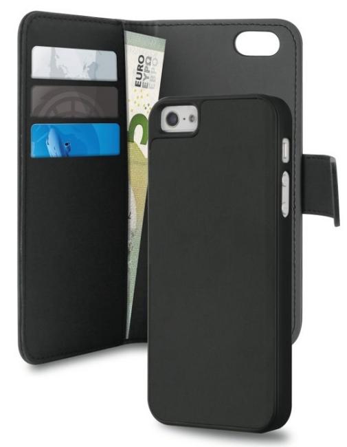 Image of   iPhone 5/5S/SE Magnet pung taske og cover 2-i-1 fra Puro Sort