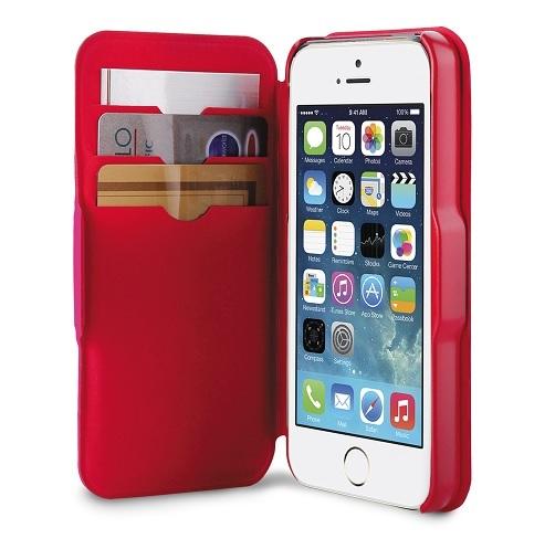Billede af Bicolor Puro Wallet cover med Dankort lommer til iPhone SE / 5 / 5S Pink / Rød