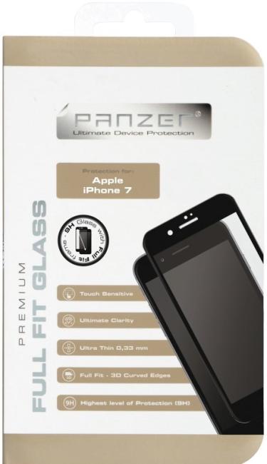 Billede af iPhone 7 / 6 / 6S Panzer Tempered Glass Full-Fit Sort