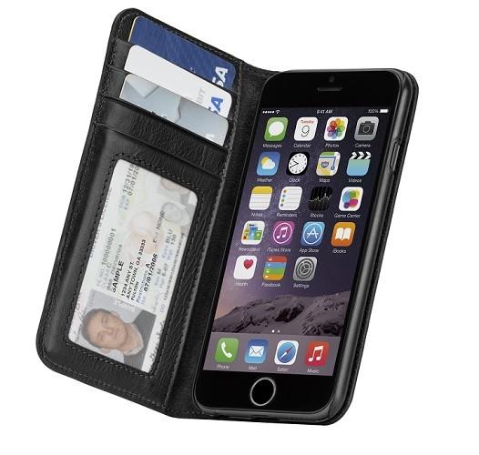 Billede af iPhone 8 / 7 / 6S Pung Case-mate Wallet Folio i ægte læder Sort
