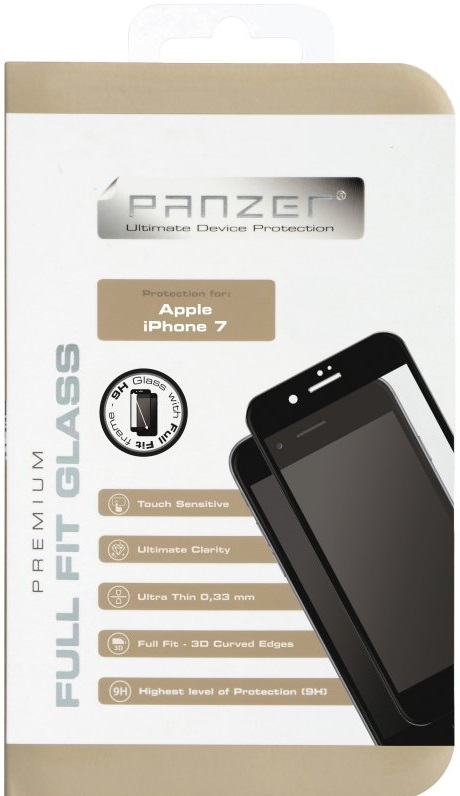 Billede af iPhone 7 / 6 / 6S Panzer Tempered Glass Full-Fit Sort