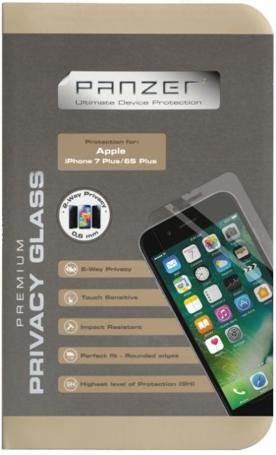 Image of   iPhone 7 Plus Panzer Sikkerhedsglas med 2-vejs Privacy Filter