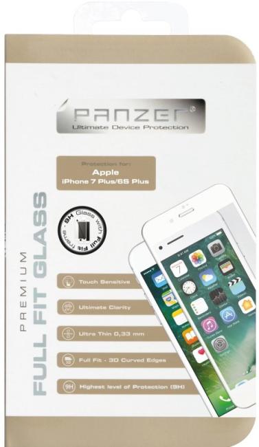 Billede af iPhone 8/7/6S Plus (Stor skærm) Panzer Sikkerhedsglas Full-Fit Hvid