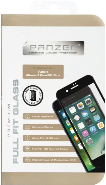 Billede af iPhone 87/6S Plus (stor skærm) Panzer Tempered Glass Full-Fit skærmbeskytter Sort