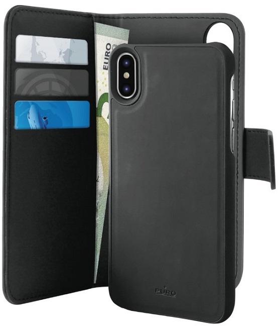 Image of   iPhone X Magnet pung taske og cover 2-i-1 fra Puro Sort