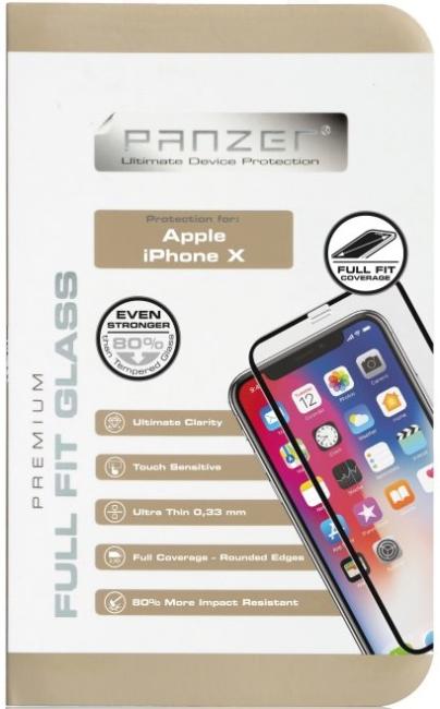 Billede af iPhone X Panzer Tempered Glass Full-Fit Sort