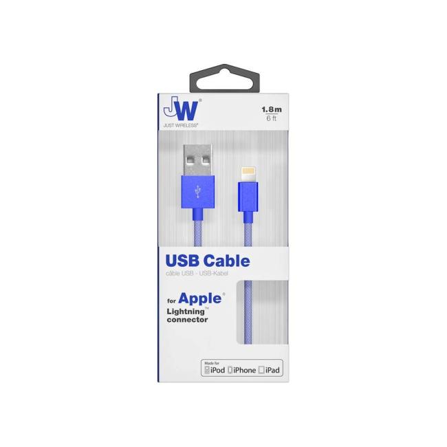 Billede af Just Wireless Cable Lightning 1.8m Mesh : Just Wireless Cable Lightning 1.8m Mesh Blue