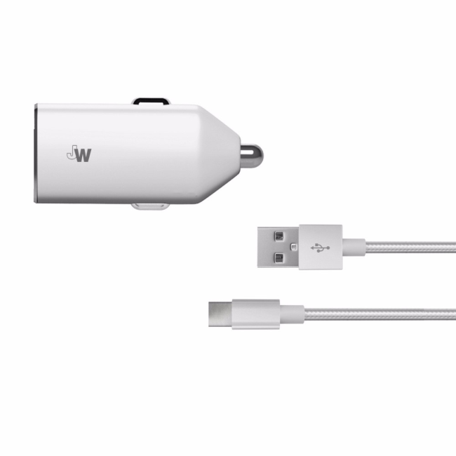 Just Wireless Car Charger USB-C Braided 2.4A : Just Wireless Car Charger USB-C Braided 2.4A Silver