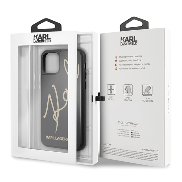 Image of   Karl Lagerfeld - Double Layer HC Karl Signature Case - Apple iPhone 11 Pro Max - Black