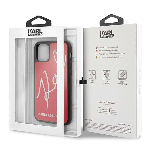 Image of   Karl Lagerfeld - Double Layer HC Karl Signature Case - Apple iPhone 11 Pro Max - Red