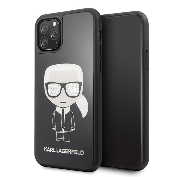 Image of   Karl Lagerfeld - Iconic Double Layer Glass Case - Apple Iphone 11 Pro Max - Black