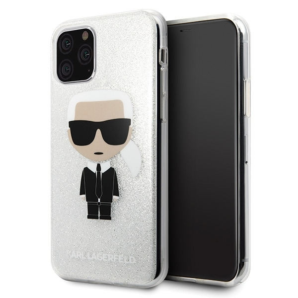Image of   Karl Lagerfeld - Iconic Glitter Case - Apple iPhone 11 Pro Max - Silver