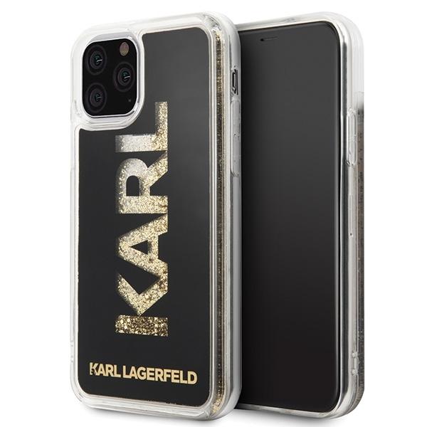 Image of   Karl Lagerfeld - Liquid Glitter Gold Logo Case - Apple iPhone 11 - Black
