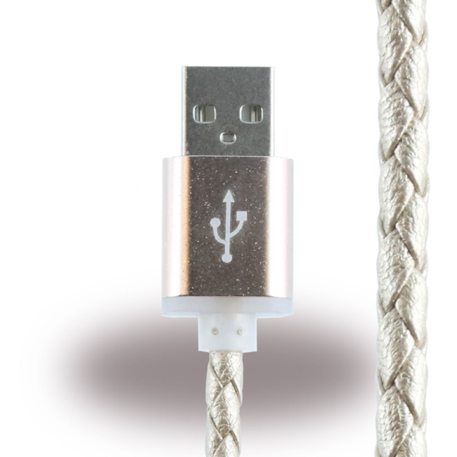 Image of   Leather Micro USB Charging Cable / Data Cable - Micro USB to USB Cable - Gold