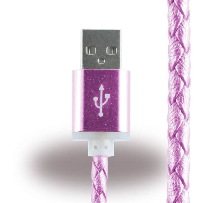Image of   Leather Micro USB Charging Cable / Data Cable - Micro USB to USB Cable - Pink