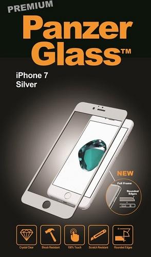 """Billede af Panzer Glass Sikkerhedsglas Premium iPhone 7 4.7"""" med sølv kant"""