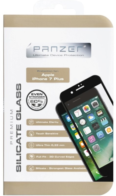 Billede af Panzer Full Fit silikatglas skærmbeskytter iPhone 8 Plus / 7 Plus Sort