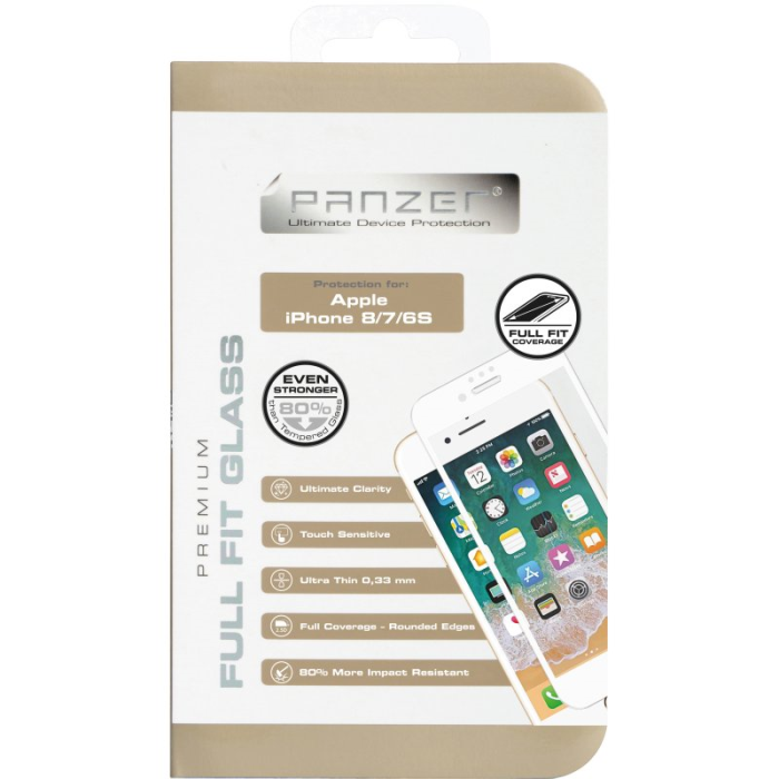 Image of   Panzer Tempered Glass til Apple iPhone 6/6S/7/8 - Full-Fit Hvid