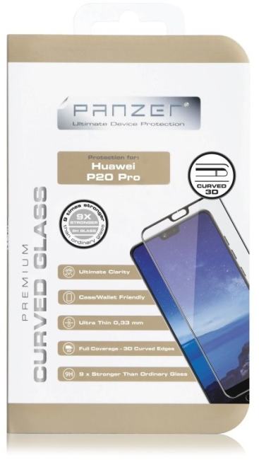 Billede af Panzer Tempered Glass til Huawei P20 Pro Curved Sort