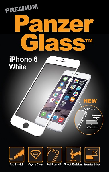 Billede af Panzer Glass Sikkerhedsglas der dækker hele skærmen til iPhone 6/6S Hvid