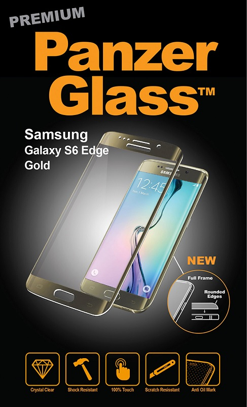 Billede af Panzer Glass Sikkerhedsglas med buet ramme til Samsung Galaxy S6 Edge Guld