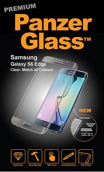 Billede af Panzer Glass Sikkerhedsglas med buet ramme til Samsung Galaxy S6 Edge Clear