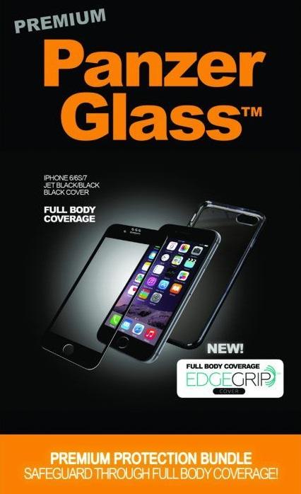 """Billede af Panzer Glass Sikkerhedsglas Premium iPhone 6/6S/7 4.7"""" Sort med Sort Edge Grip Cover"""