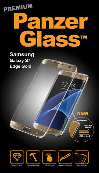 Billede af Panzer Glass Sikkerhedsglas Premium Samsung S7 Edge Guld ramme