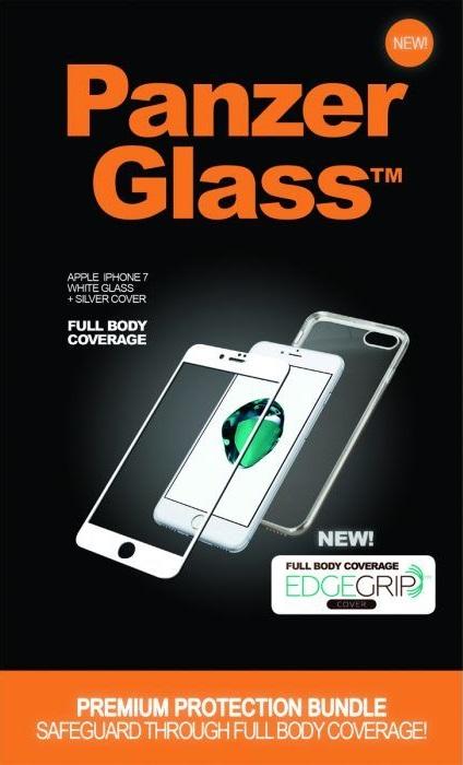 """Billede af Panzer Glass Sikkerhedsglas Premium iPhone 6/6S 4.7"""" Hvid med Sølv Edge Grip Cover"""